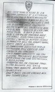 Ritrovamento del 2002. Nel restauro dellescale è stata trovata sepolta una bottiglia conall'interno questa pergamena